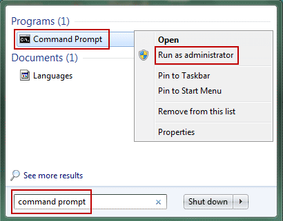 run command prompt with admin rights in windows 7