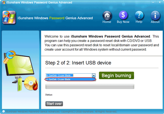 bootable password reset usb