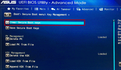clear secure boot keys in asus computer