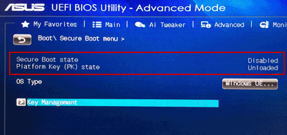 disable secure boot state in asus boot menu