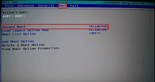 disable secure boot in dell boot tab