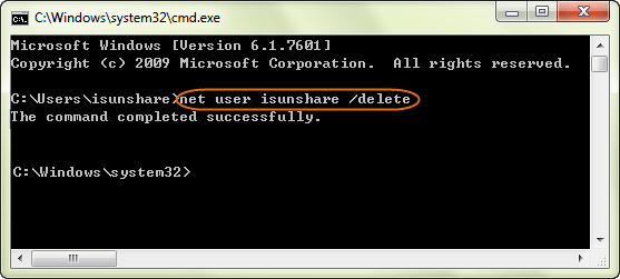 delete administrator account with command line