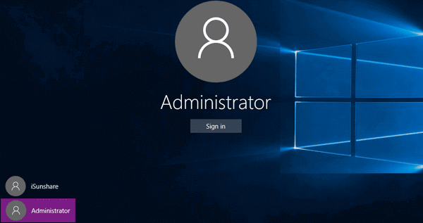 sign in windows with built-in administrator