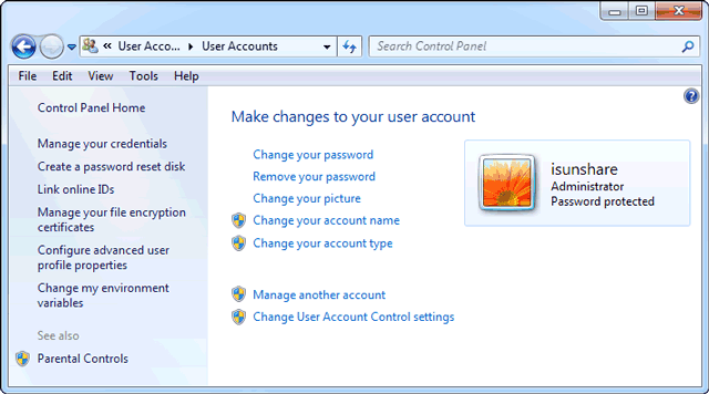 change or remove password with control panel