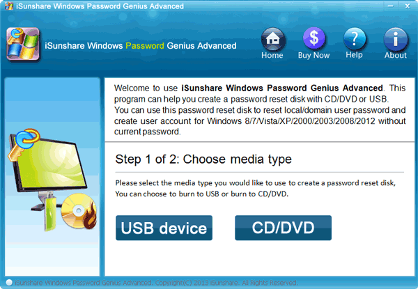 choose usb device or cd/dvd as burning media