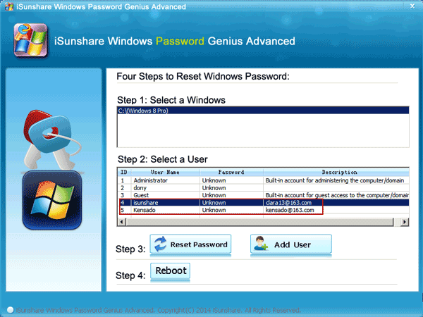 select windows system and user to reset password