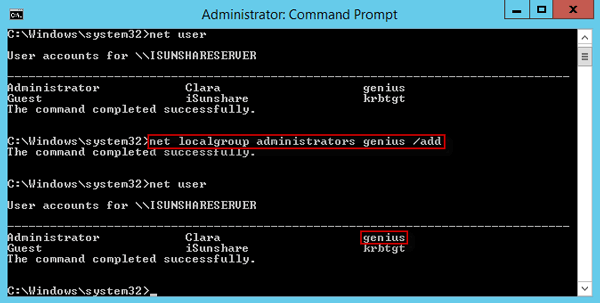 add user to local administrator group with command