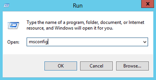 run msconfig to open windows server system configuration