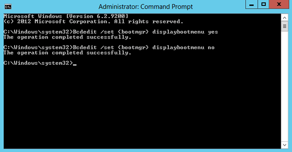 start windows server 2012 in safe mode with command
