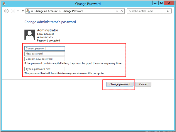 change password windows server