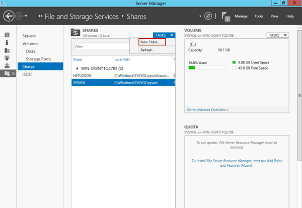 create new share in Windows server 2012