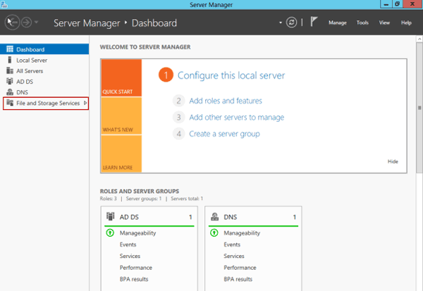 select file and storage services in server 2012