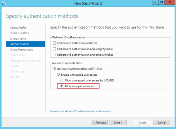 specify NFS authentication method
