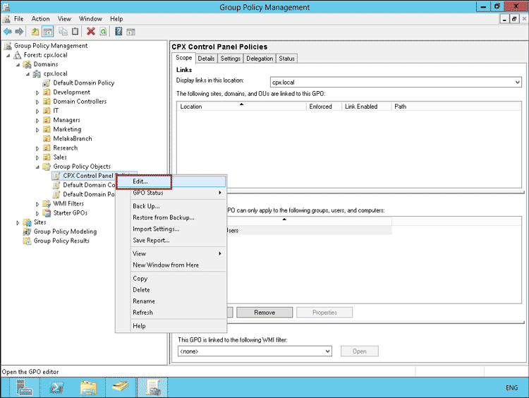 Prohibit Access to control panel for Domain Users in Windows