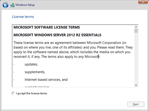 accept server 2012 r2 license terms