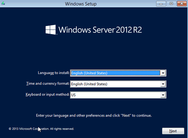 windows server 2012 r2 setup