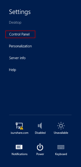 access control panel from server 2012 desktop