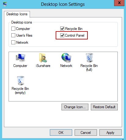 add control panel icon to server 2012 desktop