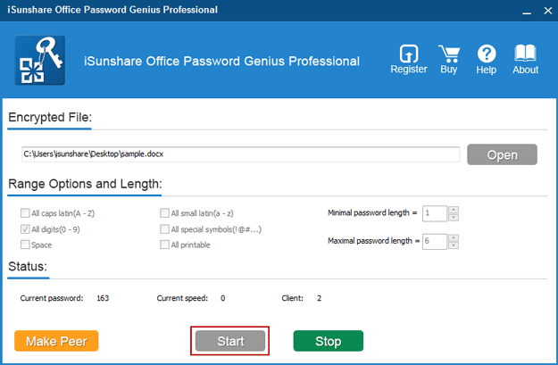 start Office Password Genius Professional