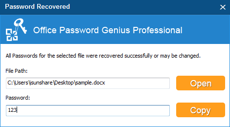 find docx document lost password successfully