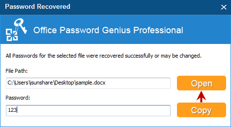 open word 2010 document with recovered password