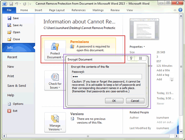 remove Word document protection with password