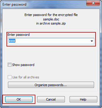 extract old zip file with password