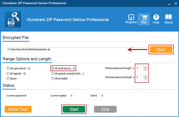 add winzip file and set winzip password recovery parameters