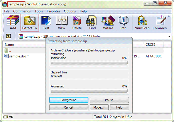 choose to extract winzip file after password recovery