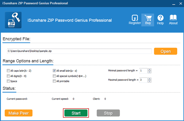 start zip password genius professional