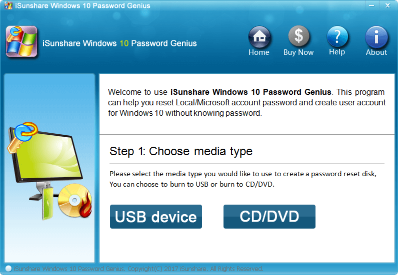 iSunshare Windows 10 Password Genius full screenshot