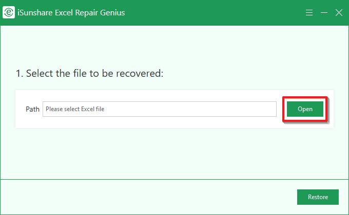 iSunshare Excel Repair Genius full screenshot