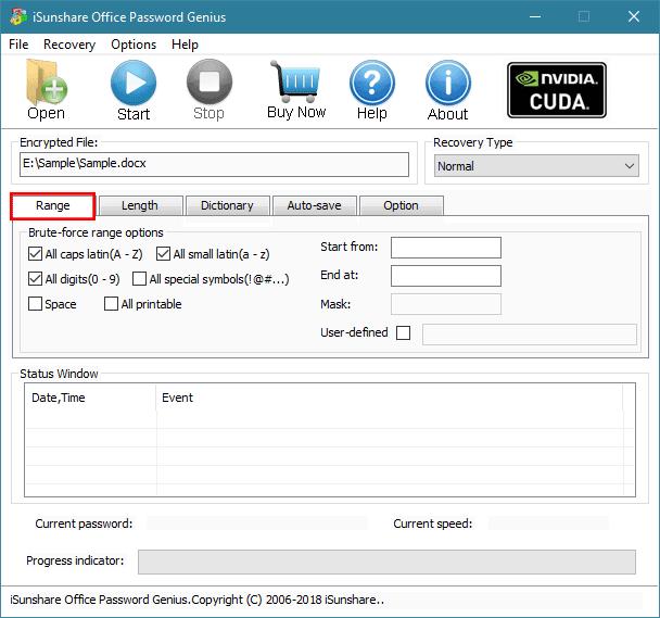iSunshare Office Password Genius full screenshot