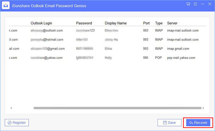 iSunshare Outlook Email Password Genius